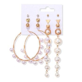 Women's Earrings Set Tassel Pearl Earrings For Women Bohemian Fashion Jewelry 2020 Geometric kolczyki Hoop Earings 2