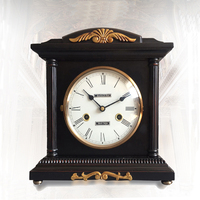 European Pastoral Retro Mechanical Clock Antique Clockwork Solid Wood Table Clock Hourly Chime Living Room Bedroom Desk Clock