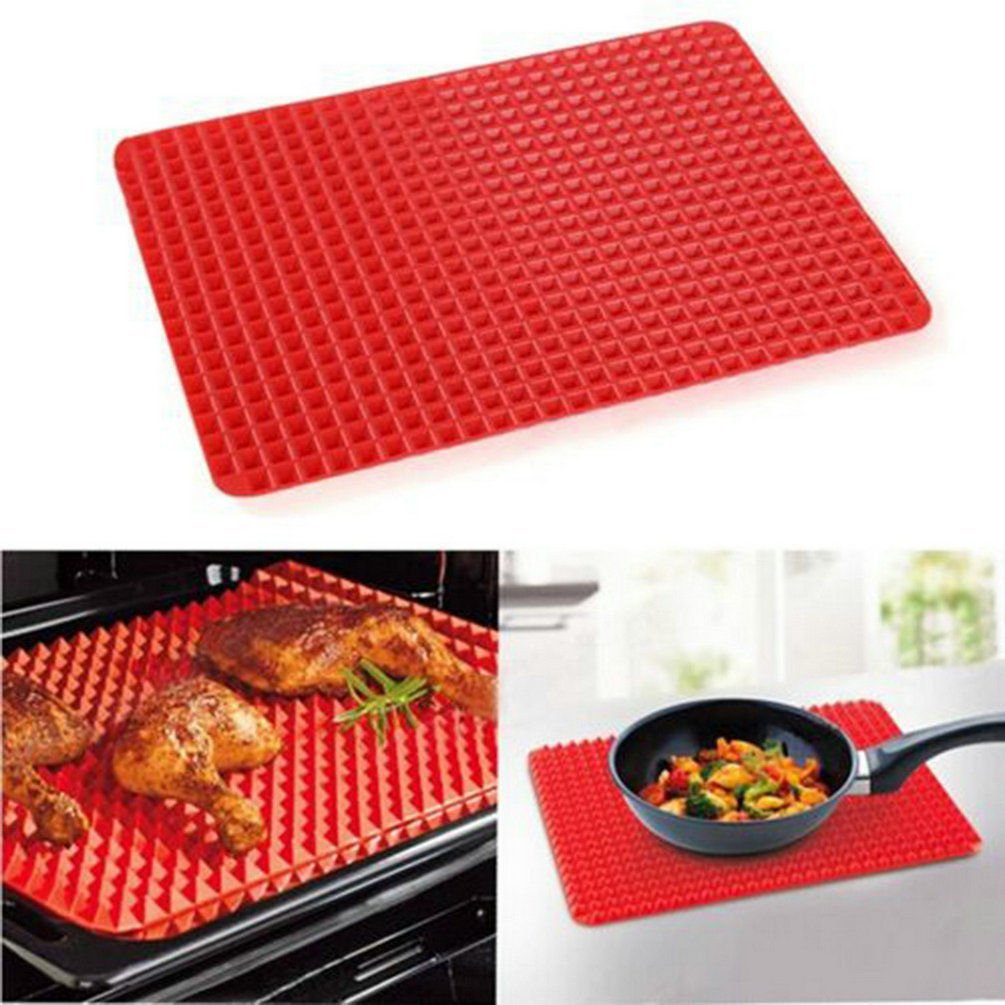 Multi-function Meat Pad BBQ Mat Silicone BBQ Pyramid Pan Fat Reducing Slip Oven Baking Grill Oil Filter Pad Sheet Cooking Mat