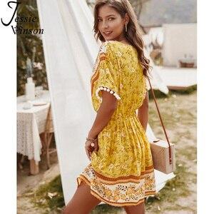 Image 4 - ג סי וינסון Boho הדפסת קצר חוף שמלת נשים קיץ קצר שרוול צווארון V מיני שמלה בוהמי פום פום כדור ZA שמלות 2020