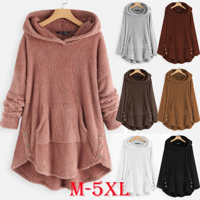 2019 Women Autumn Sweatshirts Hooded Fleece Casual Hoodies Fluffy Pullover Front Pocket Long Sleeve Jumper Robe Tops