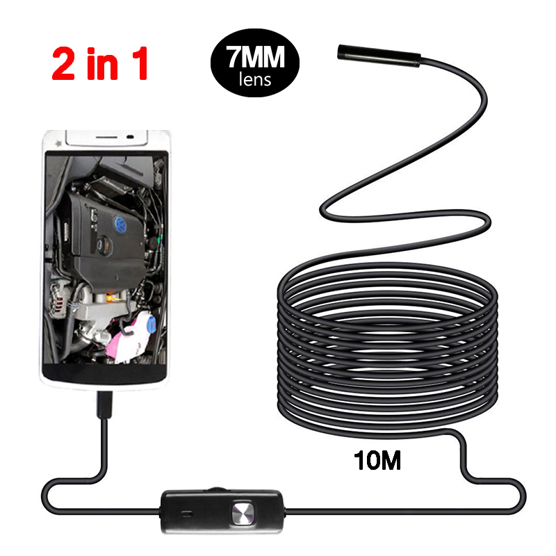 7mm Endoscope Camera Micro USB Mini Camcorders 10 M Flexible IP67 Waterproof 6 LED Borescope Inspection Camera Android Loptop