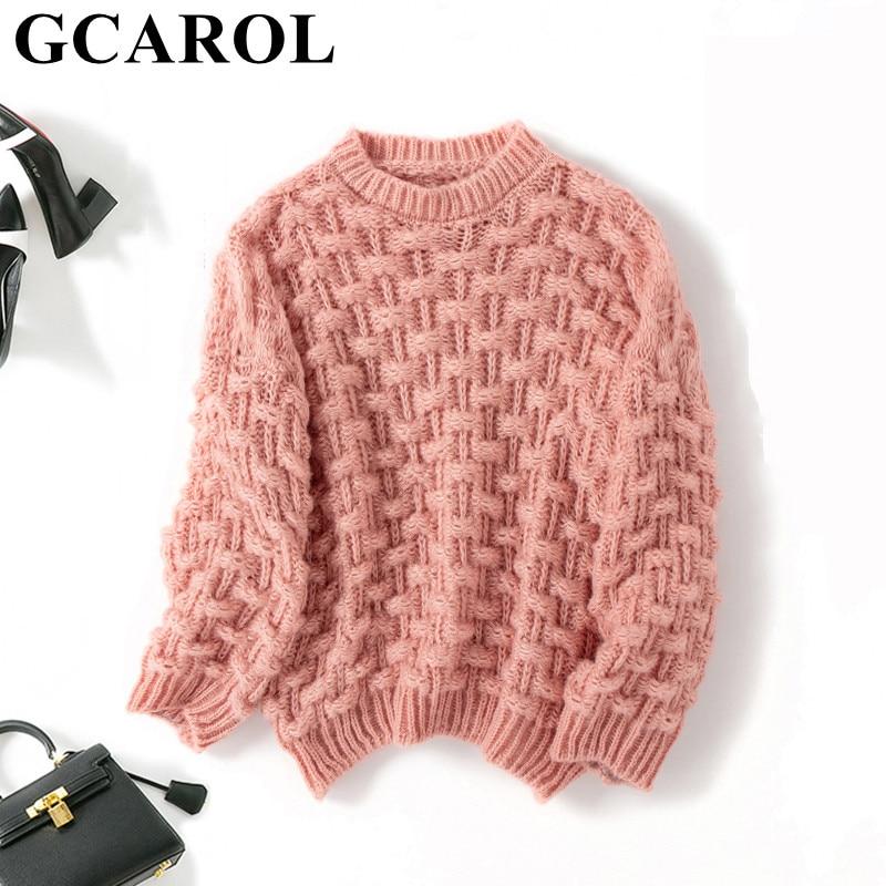 GCAROL New Women Mohair Sweater Drop Shoulder Oversize Coarse Crochet Jumper Fall Winter Warm Short Knitted Pullover
