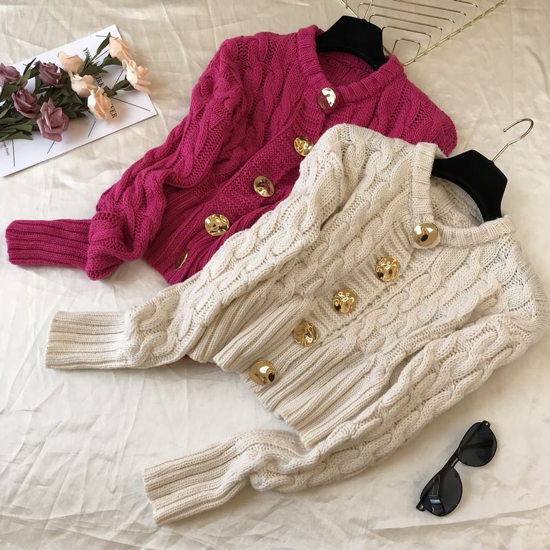 2019 Autumn New Women's Sweaters Solid Color Golden Buttons Long-sleeved Knitted Cardigan Female Short Tops