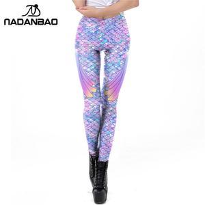 Image 3 - NADANBAO Galaxy Meerjungfrau Leggings Frauen Workout Fitness Legging Bunte Fisch Waagen Gedruckt Leggins Plus Größe