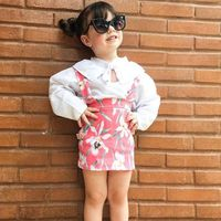 Girls Clothes Suits New Summer Style Children Floral Tops + Overalls Suit Clothes Sets For 1 4T Kids Ruffles Sleeve Sets