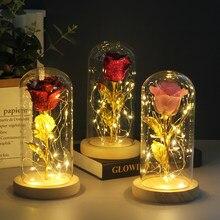 Beleza e besta flor eterna rosa no frasco decoração de casamento flores artificiais na capa de vidro para o presente do dia dos namorados da mãe