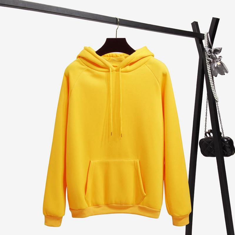 Hoodies Women Loose Solid Color Hooded Trendy Pockets Sweatshirts Womens Harajuku All-match Thickening Hip Hop Skateboard Hooded