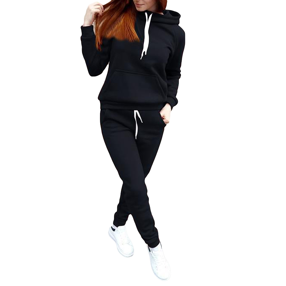 Autumn Winter Tracksuit Women Long Sleeve Thicken Hooded Sweatshirts 2 Piece Set Casual Sport Women Tracksuit Set костюм женский