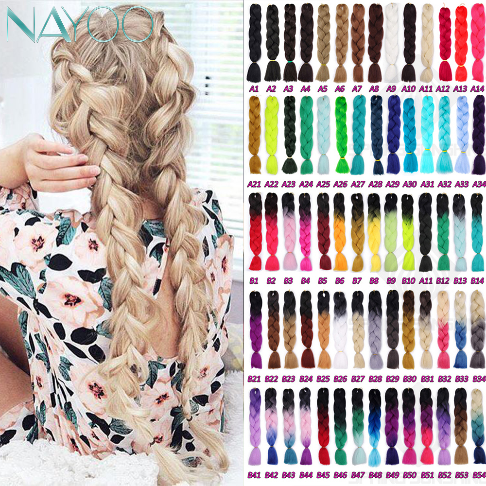 Nayoo Hair Synthetic Hair Pink Purple Blue Blonde Color Synthetic Jumbo Braids Ombre Braiding Hair Extension White Women