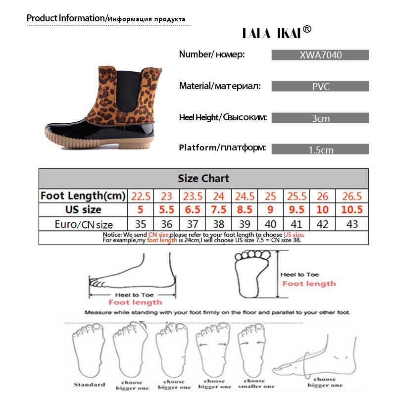 LALA IKAI kadın sonbahar yarım çizmeler PU deri leopar yağmur çizmeleri su geçirmez rahat ayakkabılar kadın Slip-On kısa çizmeler XWA7037-4