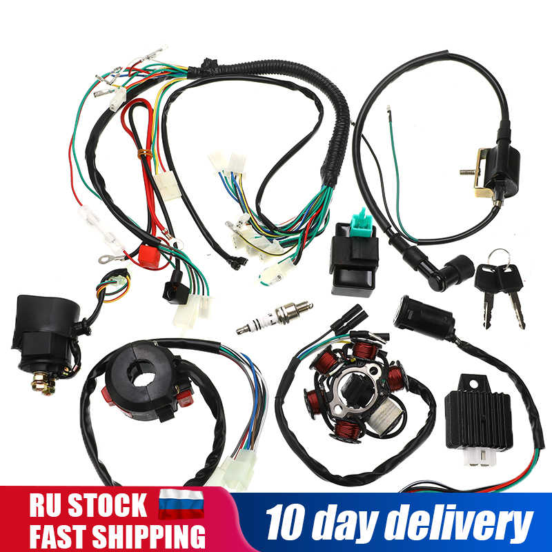 pit bike wiring harness 1set full complete electrics wiring harness cdi stator 6 coil for  electrics wiring harness cdi stator
