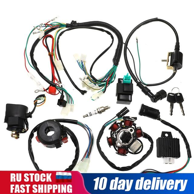 1 zestaw w całości z kompletna elektryka kable w wiązce CDI stojana 6 cewki dla motocykli ATV Quad pitbike Buggy gokart 90cc 110cc 125cc