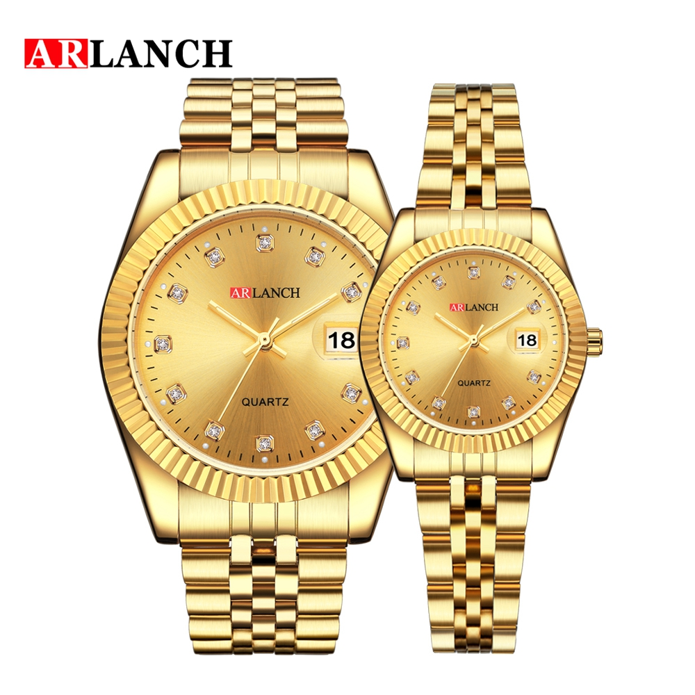 ARLANCH Luxury Brand Luminous Men Women Watch Diamond Encrusted Calendar Stainless Steel Waterproof Quartz Couple Wristwatch