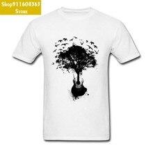 Pintura a tinta preta guitarra árvore canção pássaros branco t camisa dos homens de alta pixel impressão magro apto música t-shirts faculdade arte designers