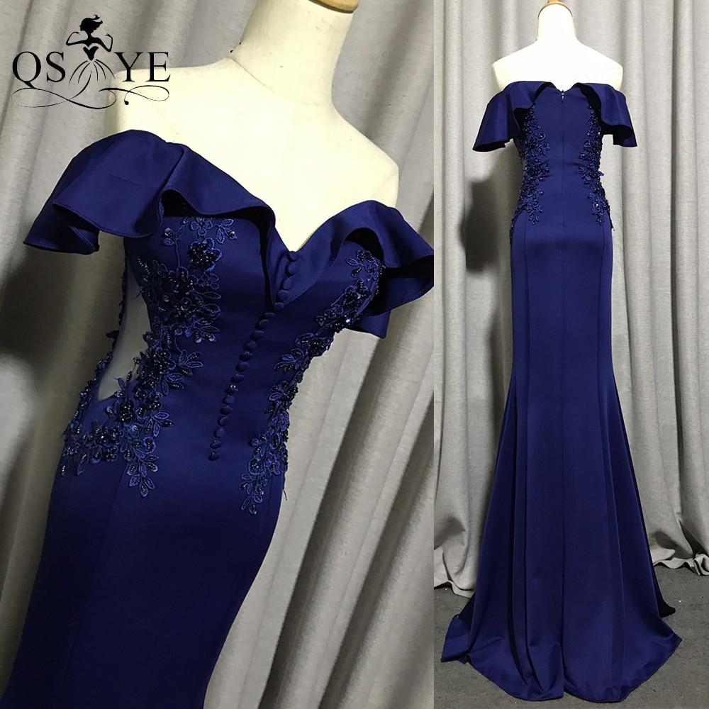 Navy Evening Dress Off Shoulder Long Mermaid Party Dress Bead Appliques Blue...