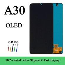 100% yeni toptan AMOLED Samsung Galaxy A30 SM-A305DS A305FN çerçeve ile LCD ekran dokunmatik ekran Digitizer Lcd