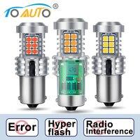 2pcs Canbus BA15S P21W 1156 BAU15S PY21W LED 오류 없음 하이퍼 플래시 전구 3030 칩 오류 무료 자동차 차례 신호 DRL 램프 12V