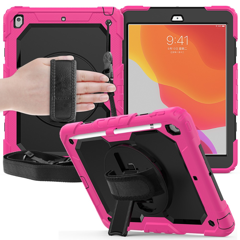 cover rotation 7th 2020 8th funda PC iPad For 10.2 Stand straps A2200 case degree Kids 360 A2232 Shockproof A2198 Silicon Gen