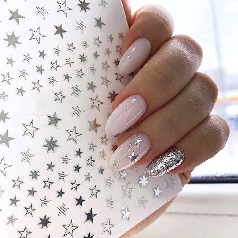 1 pcs of geometric 3D nail art sticker cute star gold/silver/rose gold jewelry self-adhesive slider manicure accessory