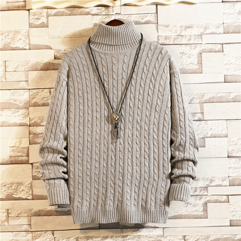 Winter Turtleneck Sweater Men Warm Slim Fashion Solid Color Casual Knit Sweaters Man Sweter Clothes Long Sleeve Pullover Men