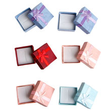 Jewelry Case Paper Storage Box Ring Earring Holder Package Bowknot Decor A69F(China)