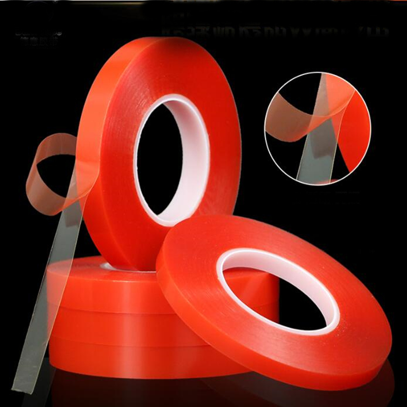 SZBFT 1mm~3mm*50M Strong Pet Adhesive PET Red Film Clear Double Sided Tape For Phone LCD Screen