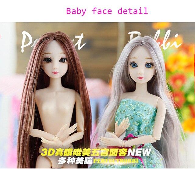 BJD Bambola 30 centimetri 20 Mobile Jointe Bambole 3D Occhi Bjd Bambola di Plastica per le Ragazze Giocattoli Lunga Parrucca Femminile Nudo del corpo di Modo Regalo Di Natale 5