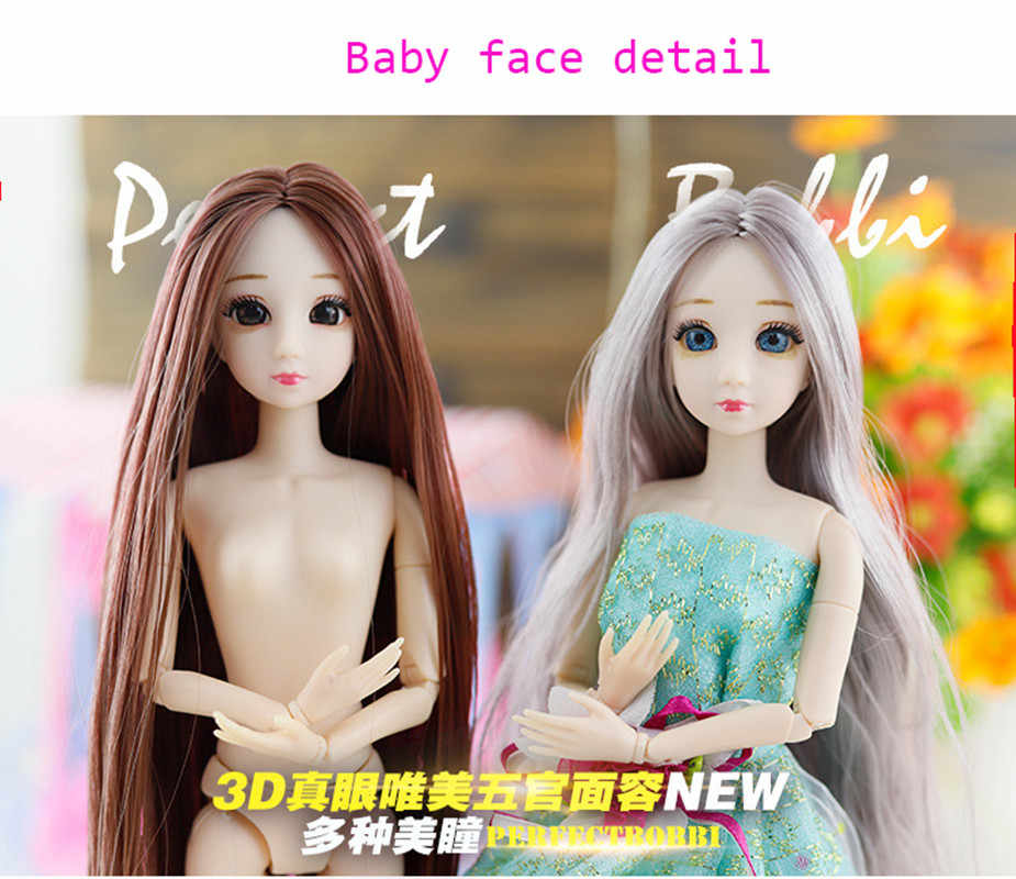 BJD bebek 30cm 20 hareketli Jointe bebek 3D gözler Bjd plastik bebek kızlar için oyuncaklar uzun peruk kadın çıplak vücut moda noel hediyesi