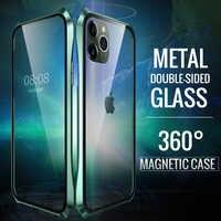 Coque magnétique Double face en verre pour Apple iPhone 11 Pro Max boîtier magnétique de luxe en aluminium métal pare-chocs 360 Coque de protection
