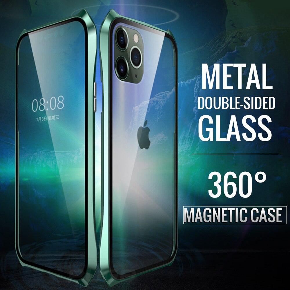 Doppelseitige Glas Magnetische Fall Für Apple iPhone 11 Pro Max Magnet Fall Luxus Aluminium Metall Stoßstange 360 Schutzhülle coque