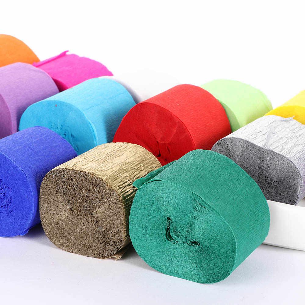 1 Roll 3.5 Cm * 10 M Decoratieve Origami Gerimpelde Crêpe Papier Ambachtelijke Diy Bloem Maken Wikkelen Vouw Scrapbooking Party achtergrond Decor