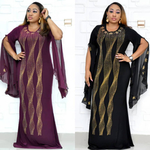 African Dresses For Women Dashiki Diamond African Clothes Bazin Broder Riche Sexy Ruffles Sleeve Robe Evening Long Party Dress lacywear блузка dg 4 max