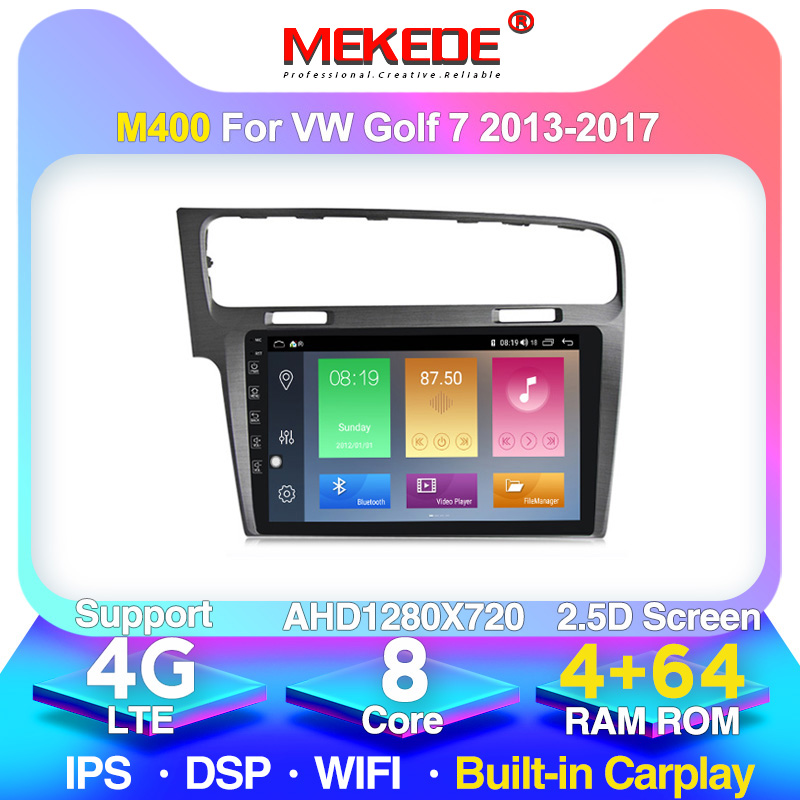 MEKEDE 4G LTE 4G+64G Android 10.0 Car Radio Multimedia Video Player Navigation GPS For <font><b>VW</b></font> Volkswagen <font><b>Golf</b></font> <font><b>7</b></font> golf7 2013-2017 image
