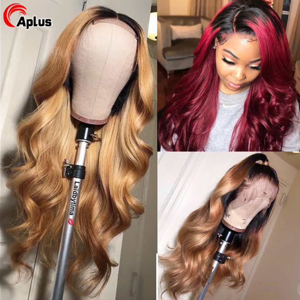 Colored Lace Wigs Ombre 13x4 Lace Front Human Hair Wig Glueless Natural Black Bungundy Blonde Brazilian Remy Body Wave Hair Wigs