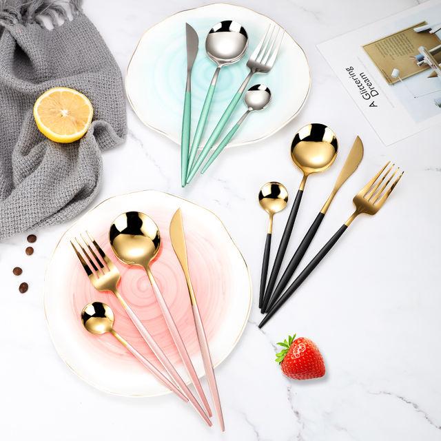 4 Pcs / Set Stainless Steel Black Gold Cutlery Set