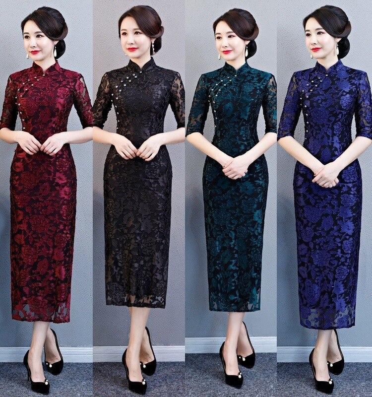 Mode velours imprimé Floral fait à la main bouton Silm Qipao chinois traditionnel femmes robe Vintage dame Sexy Cheongsam taille M-4XL