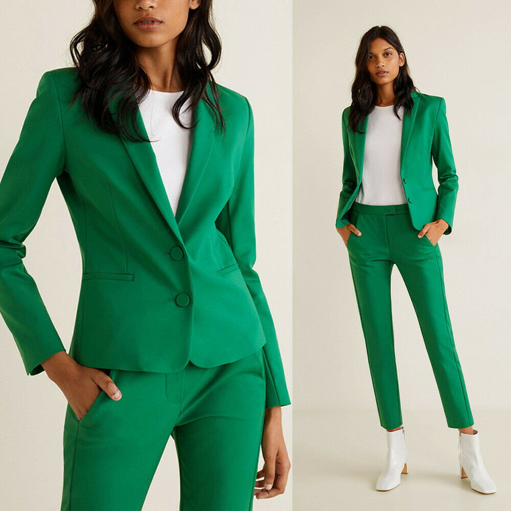 21-1 Green Women Work Pant Suits 2 Piece Ladies Slim Fit Blazer Trouserd Custom Made