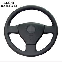 DIY Black Genuine leather Hand stitched Car Steering Wheel Cover for Volkswagen Golf Polo Sagitar 2010 Polo VW Old