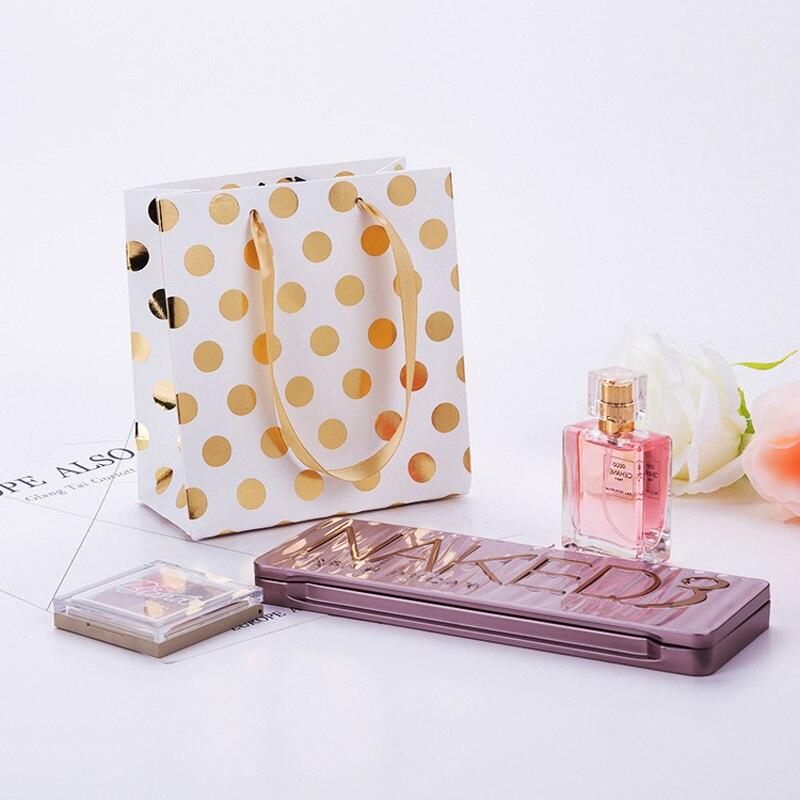 En gros 20 pcs/lot or/argent points sacs cadeaux avec poignées sac en papier Kraft Mini présent sac pour bijoux/parfums paquet cadeau - 6