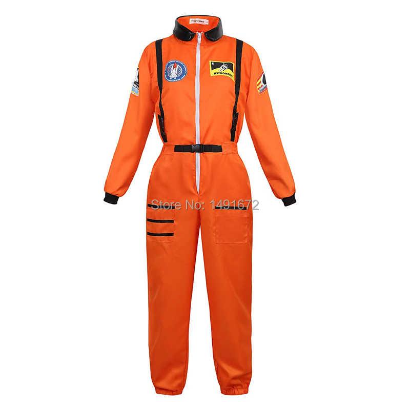 Astronot kostüm yetişkin astronot kadın erkek uçuş uzay takım elbise tulum cadılar bayramı cosplay tek parça tulum mavi beyaz orange