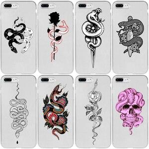 Animal Snake Flower Cover Case for Samsung S5 S6 S7 S8 S9 S10 S10E S20 Edge Plus Lite Ultra