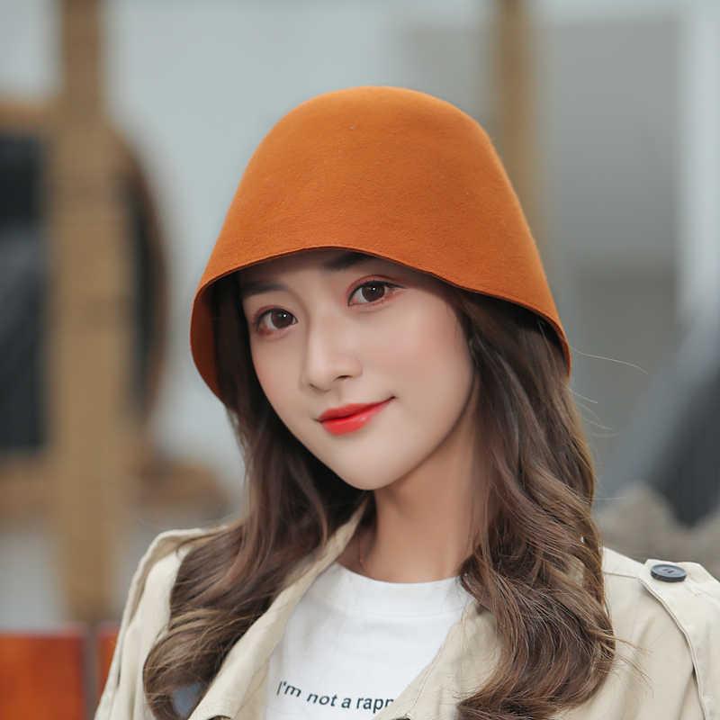 COKK 여성 모자 양모 Fedoras 모자 여성용 패션 소프트 양모 따뜻한 양동이 모자 숙녀 교회 드레스 겨울 모자 여성