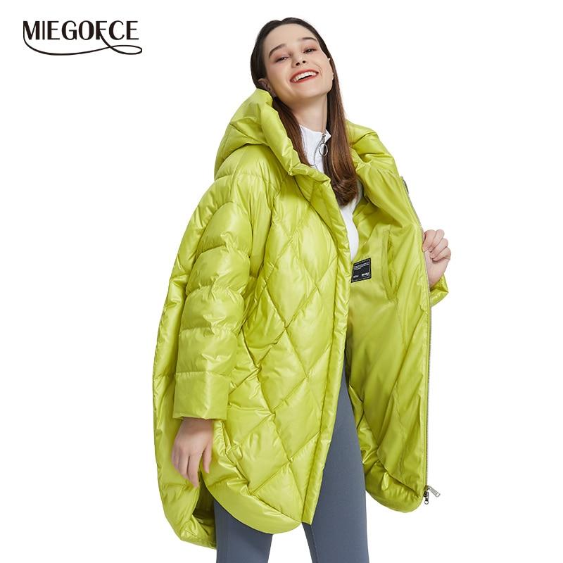 Miegofce 2019 novo design de luxo jaqueta feminina cores brilhantes casual solto casaco quente oversized feminino parka inchado colarinho com capuz
