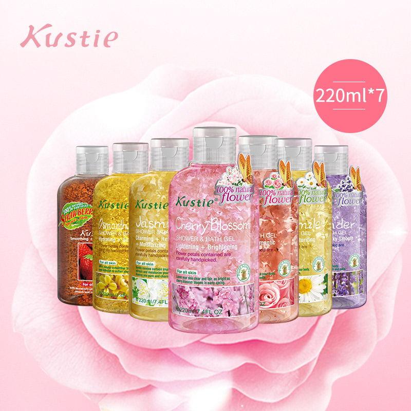 Kustie Petal Bath Dew  Body Wash Shower Gel Family Suit Lady's Long-lasting Fragrance And Moisturizing Bath Emulsion Gel Douche
