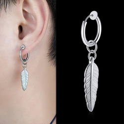 Vnox 1 Piece Cool Feather Hoop Earrings for Men Women Geometric Spike Cross Punk Gothic Never Fade Jewelry with Ear Clip