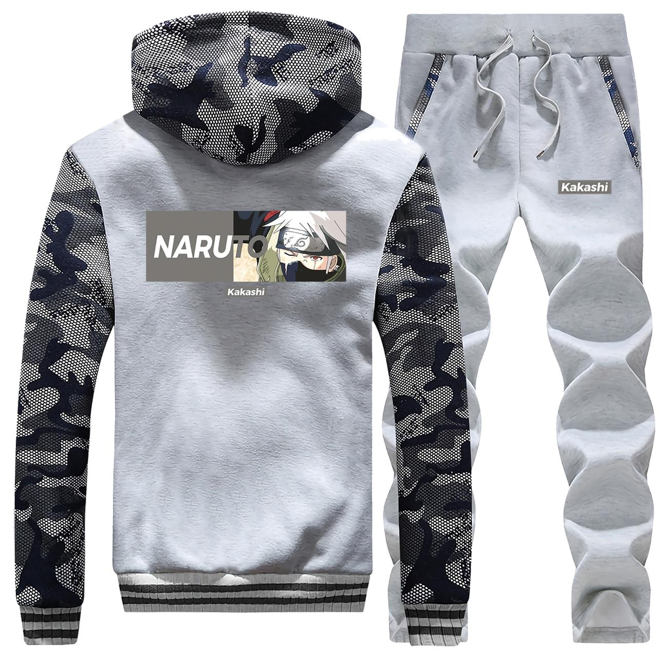 Naruto Male Set Japanese Anime Kakashi Camo Hoodies Men Winter Jacket Fleece Warm Outwear Pants 2019 Harajuku Fashion Sweatsuit