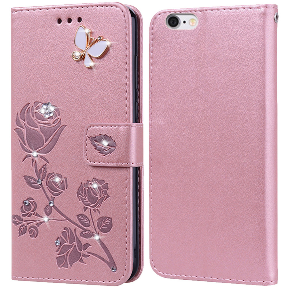 Wallet Stand Flip <font><b>Case</b></font> <font><b>for</b></font> <font><b>Lenovo</b></font> <font><b>S90</b></font> Bling 3D Diamond Rose Embossed Pattern Premium Leather <font><b>Case</b></font> Cover image