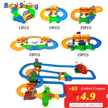 Baby Shining Kid Track Car Building DIY Toy 99pcs Electric High Speed Railway Racing Car Play Set Boy Girl Birthday Gift Over 3Y(China)
