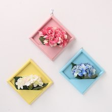 Photo Frame Wall Hangings Wood Frame Vase For Home Wall Decoration Flower Pot And Artificial Fake Flowers Photo Frame Set(China)